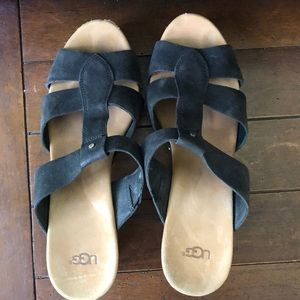 Ugg clog like sandals with black leather straps